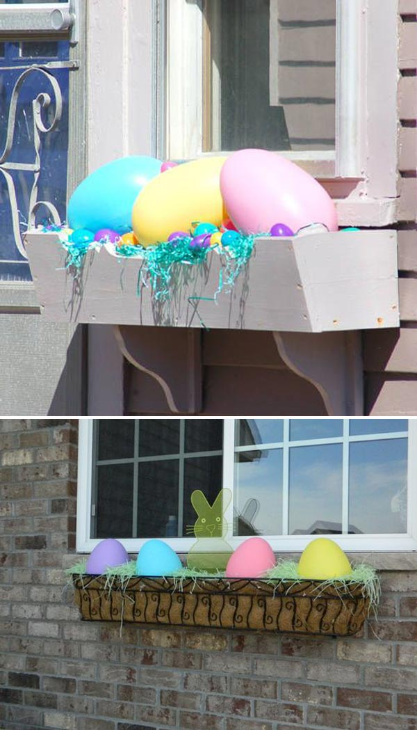 Window Box Decorated with Easter Eggs