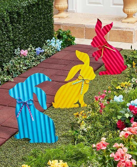 Colorful Bunny Yard Stake