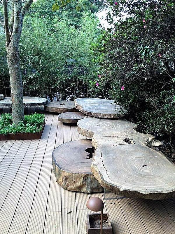 Big Sliced Tree Logs as Garden Benches