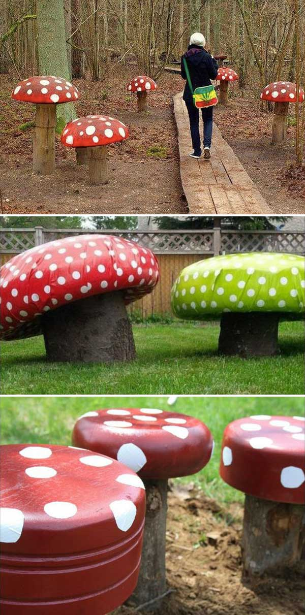 Wooden Log Forest Toadstools