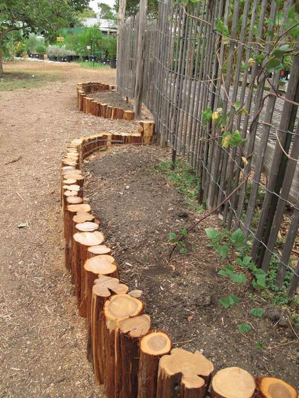 Vertical Log Retaining Wall