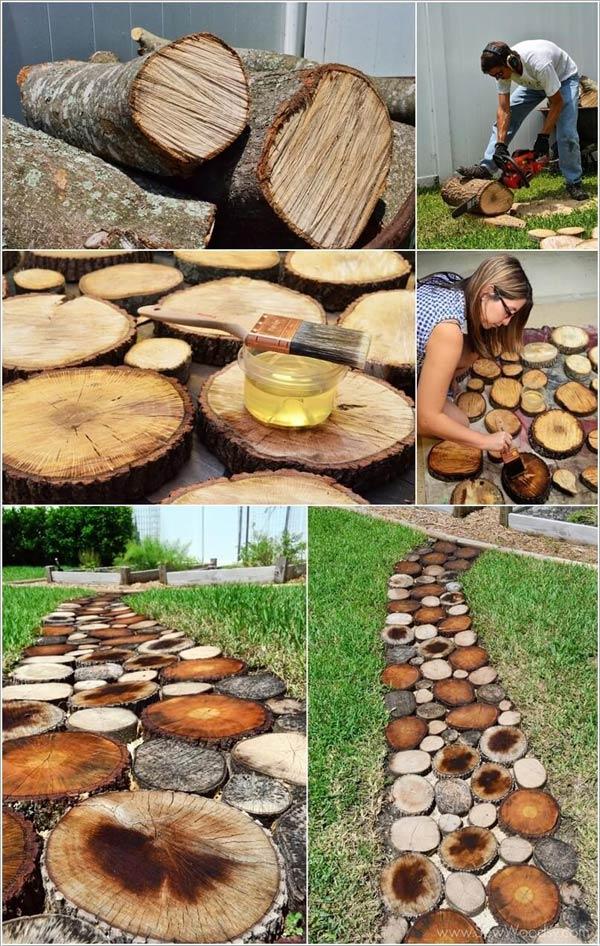 Build A Tree Log Slice Walkway