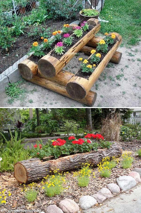 Wood Log Planters