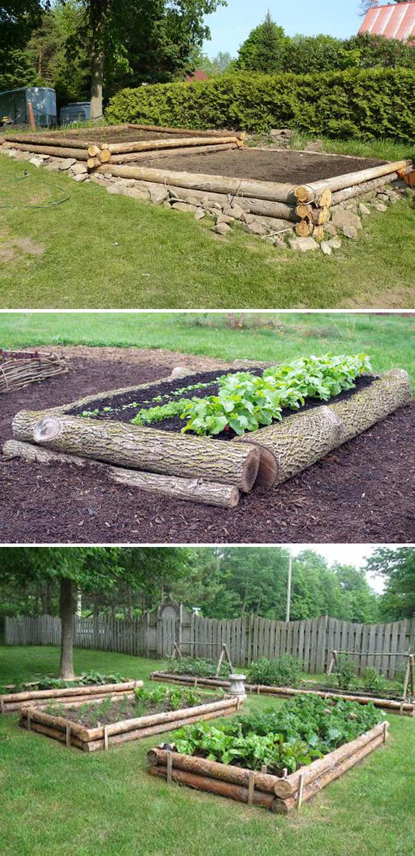 Raised Garden Beds from Logs
