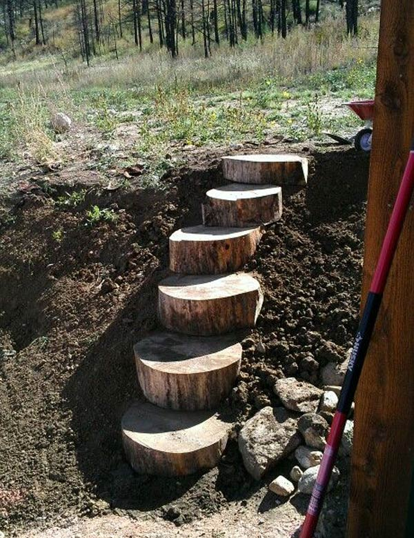 Log Stairs on a Slope Garden