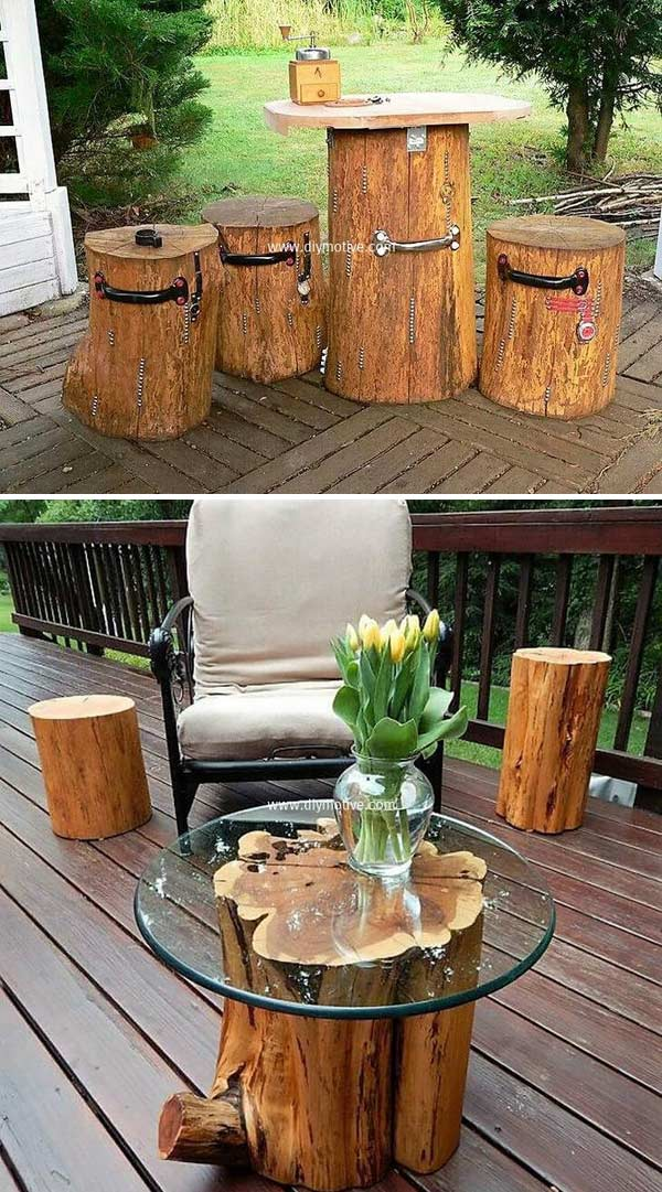 ooden Tree Logs Turned Into an Exotic Coffee Table