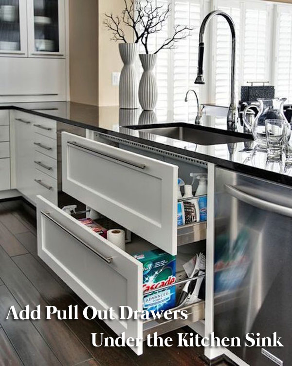 Pull Out Drawers Under the Kitchen Sink