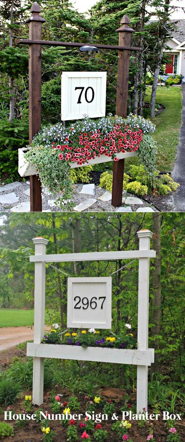 House Number Sign and Planter Box