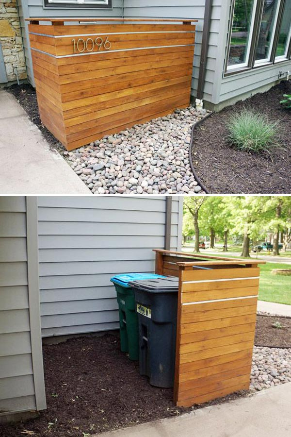 Make Cedar Plank Screen Wall To Hide The Garbage Bin