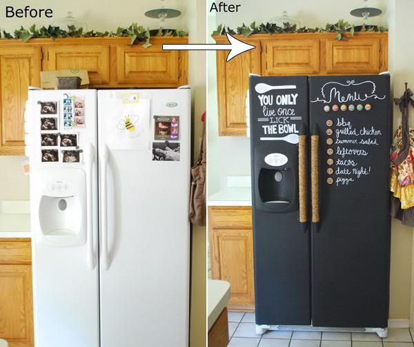 DIY Chalkboard Paint Refrigerator