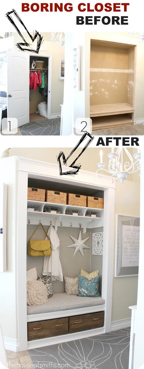 Turn Coat Closet into a Prettier Entryway Mud Room