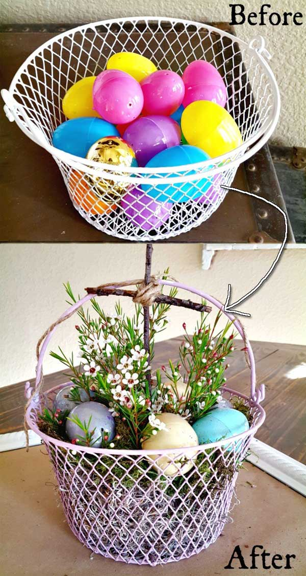 plastic eggs into this easter egg basket