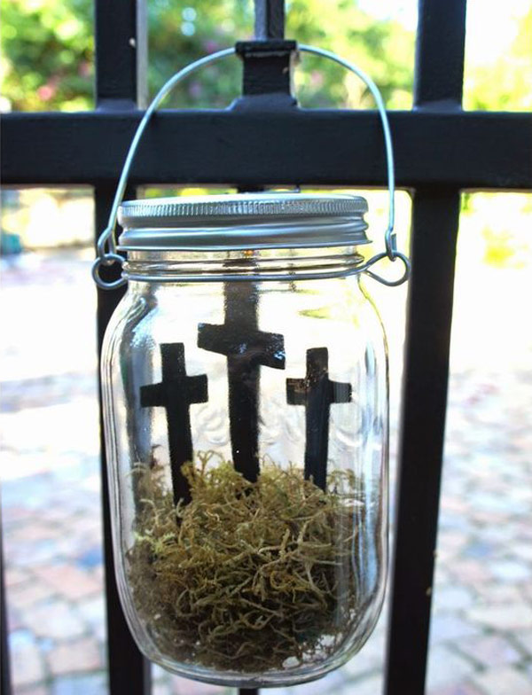 Easter cross in a hanging mason jar