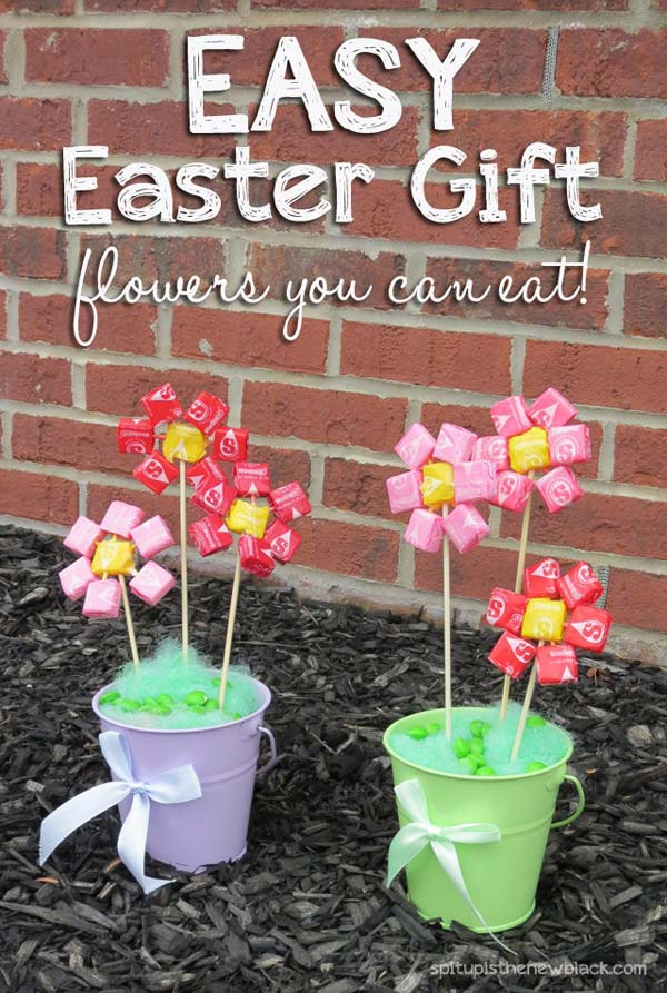 Easter candy flower set in tin flower pots