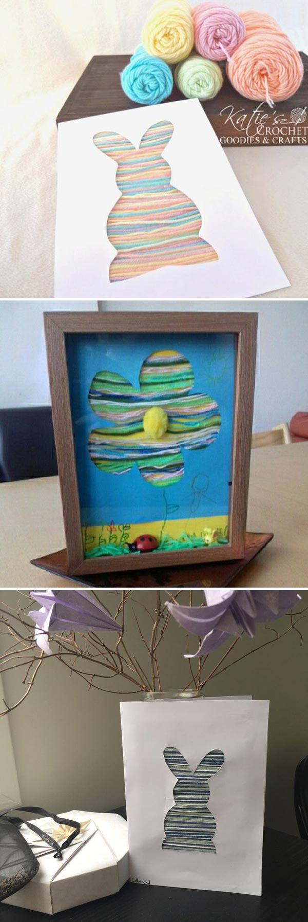 bunny or flower silhouette yarn craft
