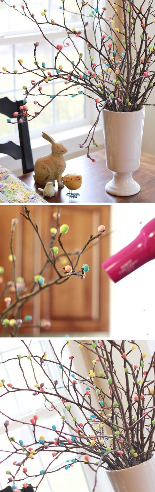 Easter table centerpiece made from some apple tree branches and jelly beans