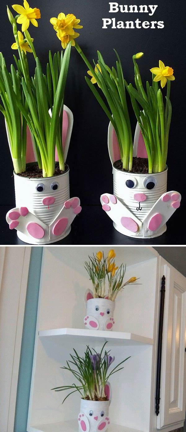 cute tin can bunny planters