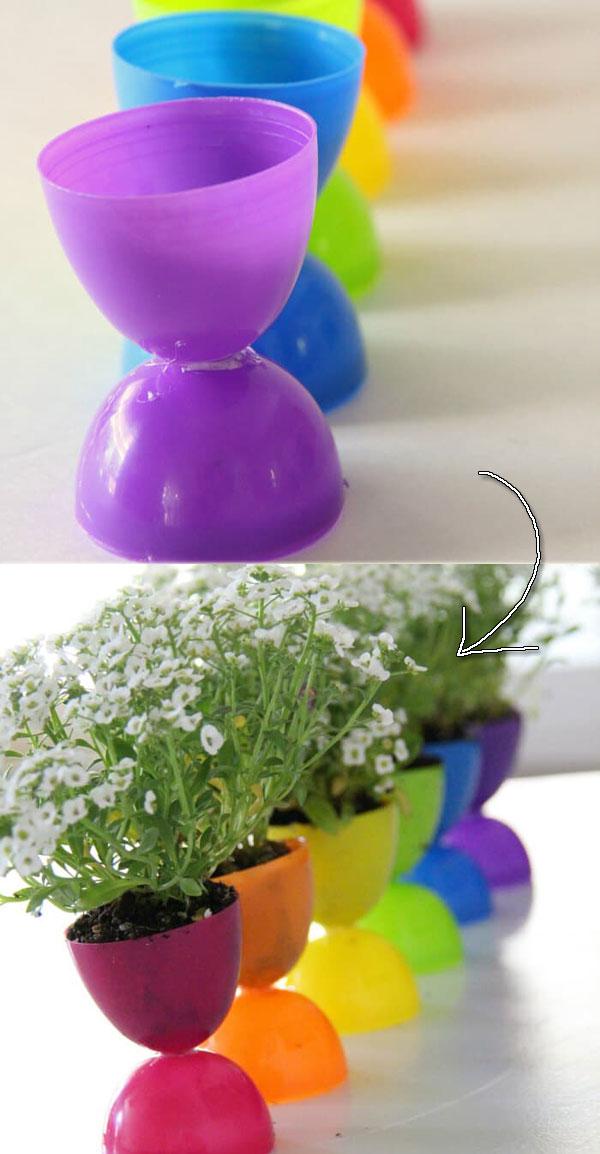 adorable Easter egg flower pots