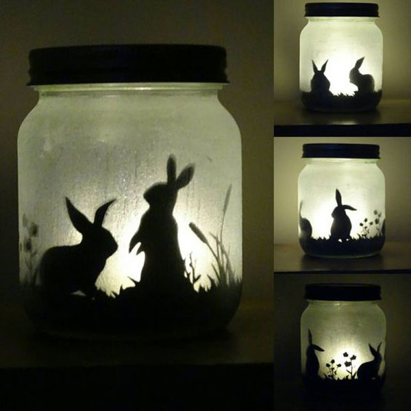 bunny silhouette jar light