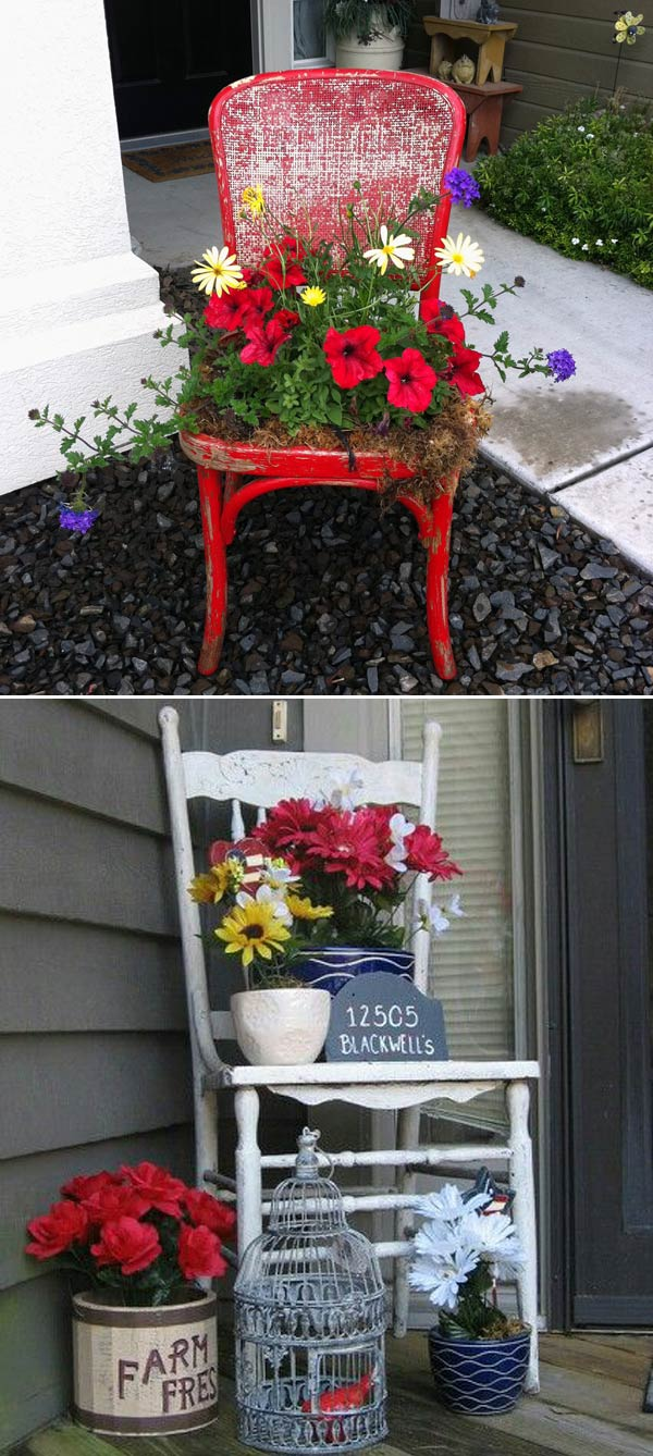 Old Chair into a Darling Flower Pot