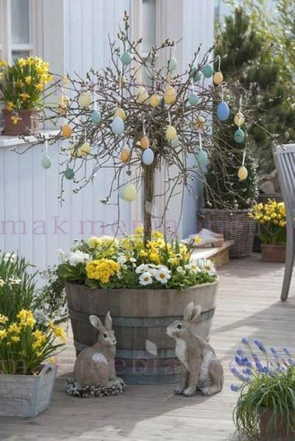 Easter eggs tree was planted in an old wine barrel