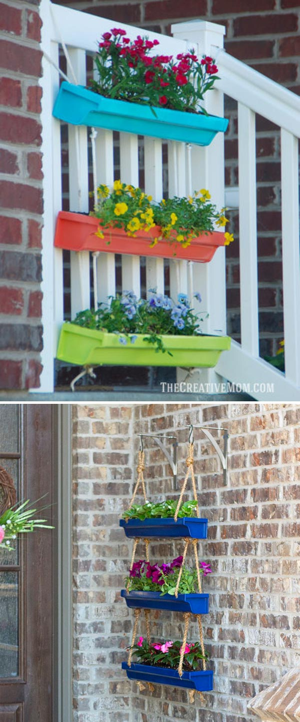 colorful hanging gutter planter