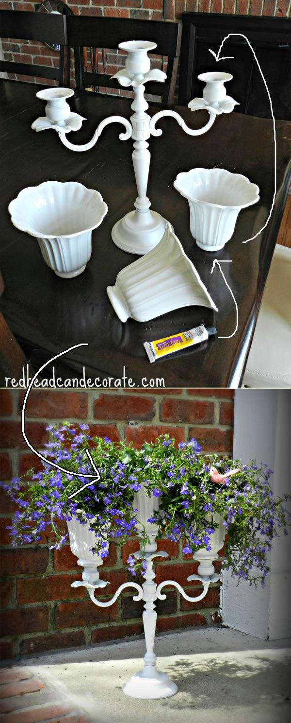 Display candelabra planter with upcycled ceiling fan shades