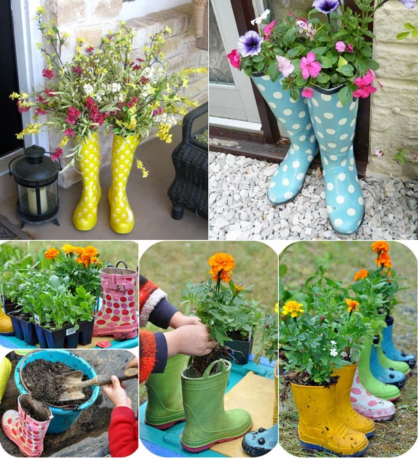 rain boots into adorable twin planters