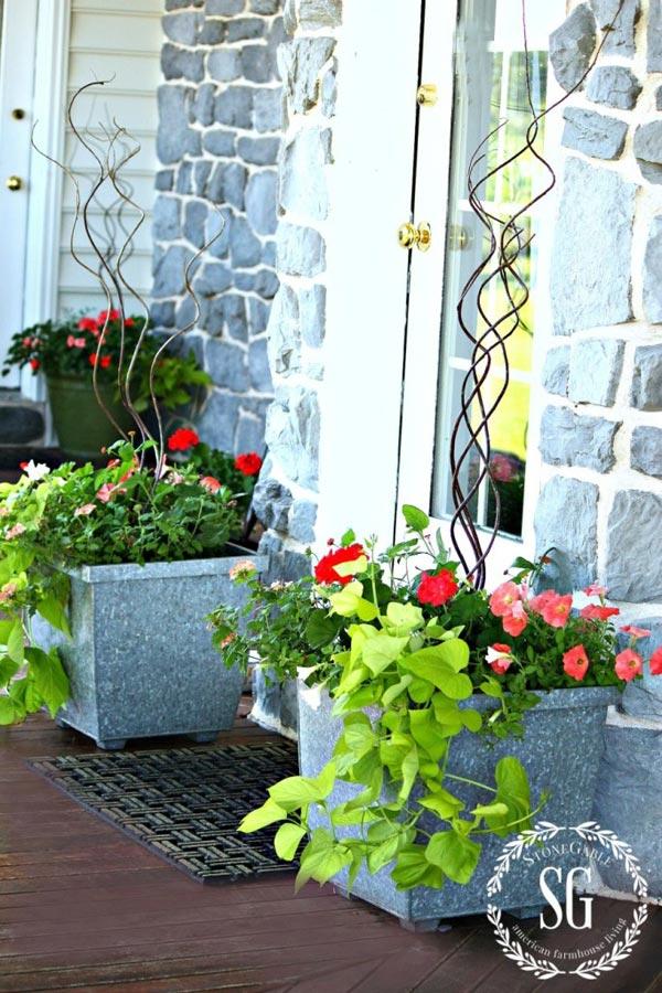 square galvanized planters