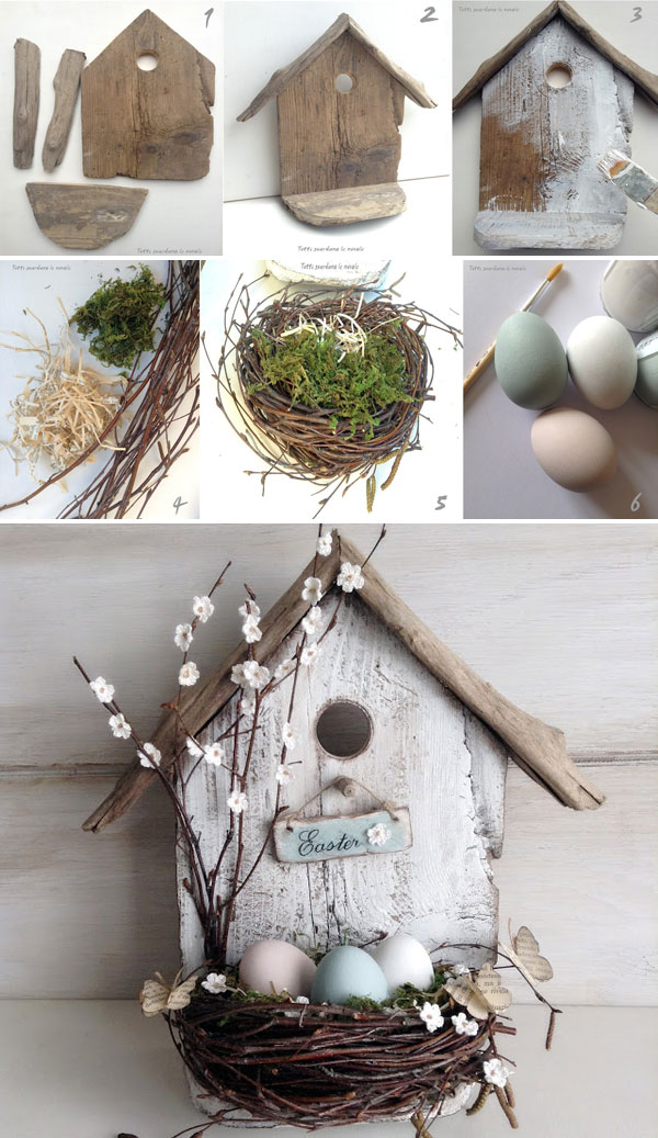 A bird house full of pastel eggs