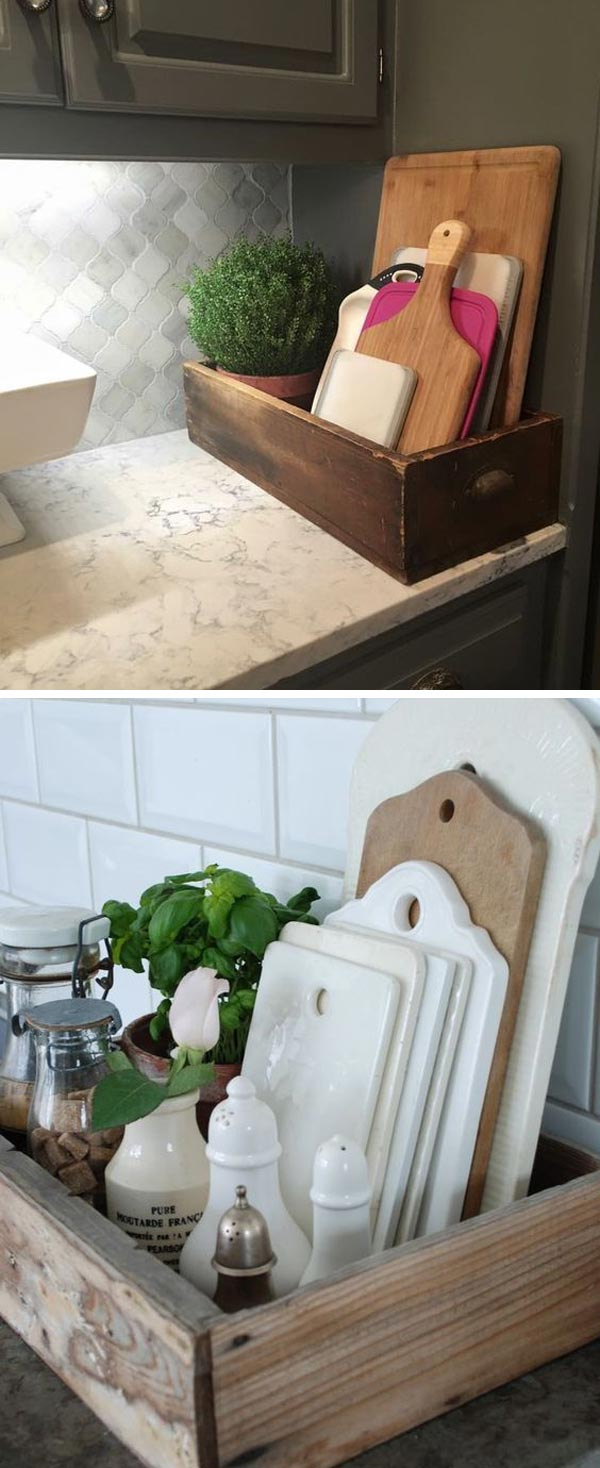 Farmhouse Style Kitchen Storage With Wood Crates Amazing