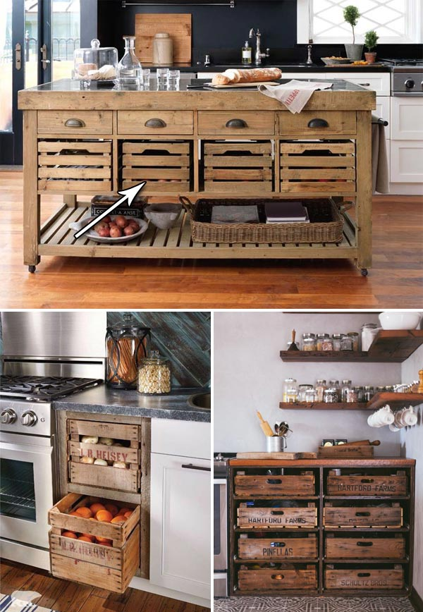 Farmhouse Style Kitchen Storage With Wood Crates