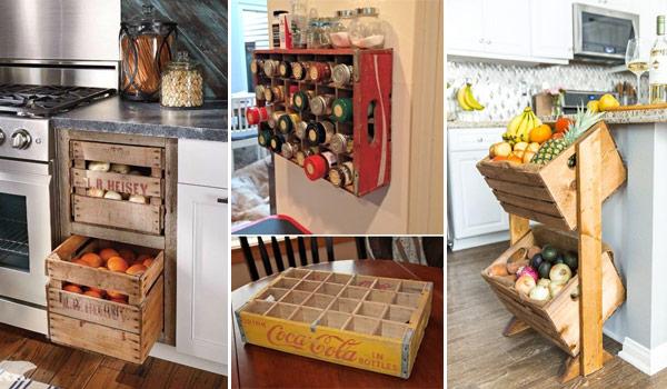 Farmhouse Style Kitchen Storage with Wood Crates