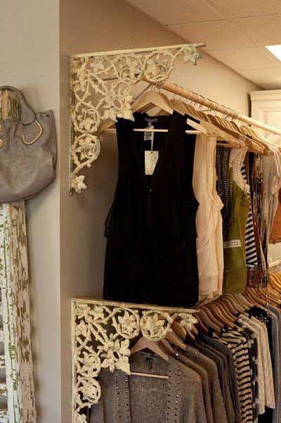 Decorate your closet rods with iron shelf brackets