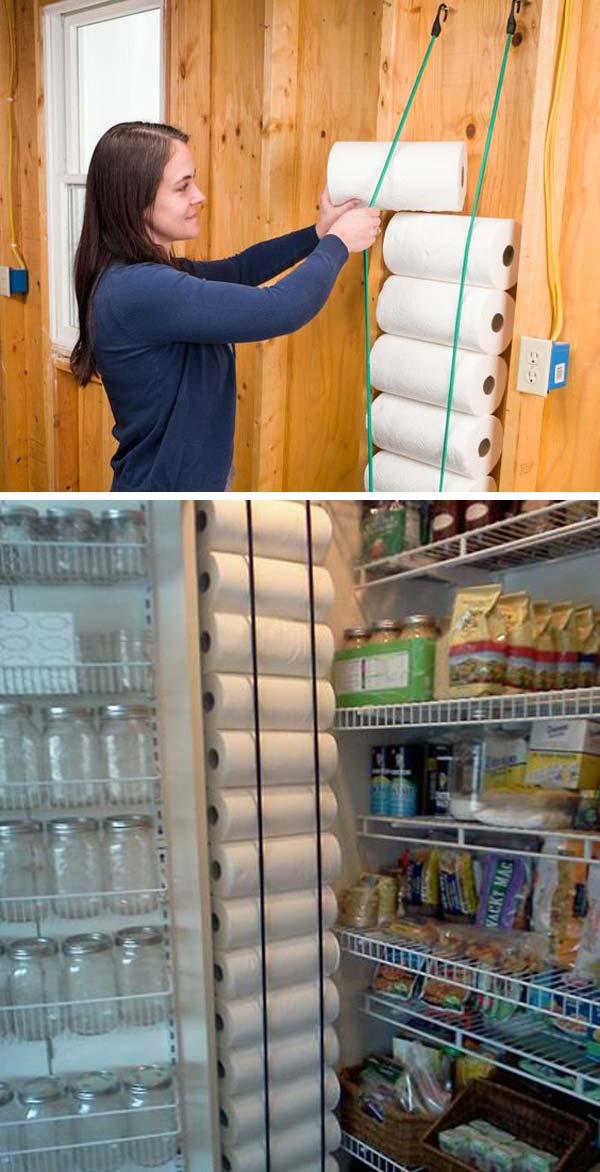 pantry wall paper towels storage