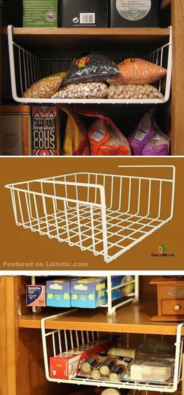 Under Shelf Basket Wrap Rack