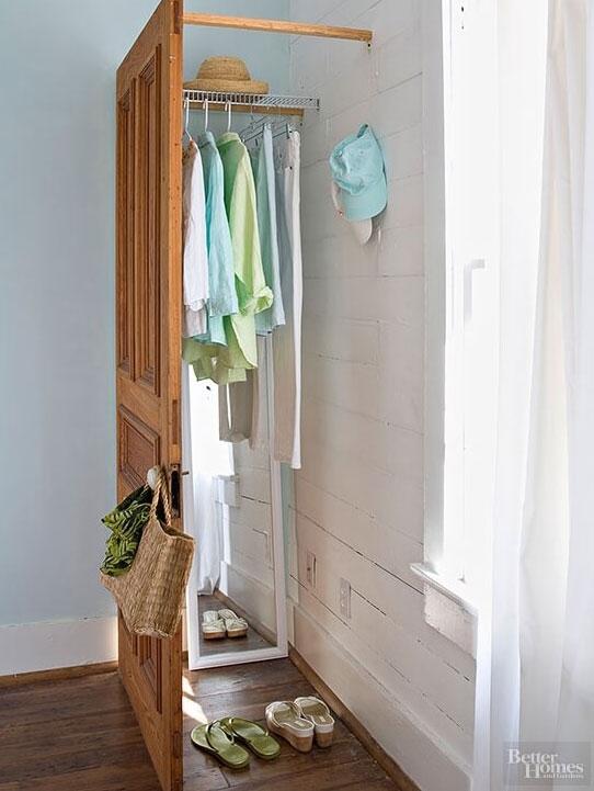 Mount a freestanding door to the walls in a corner