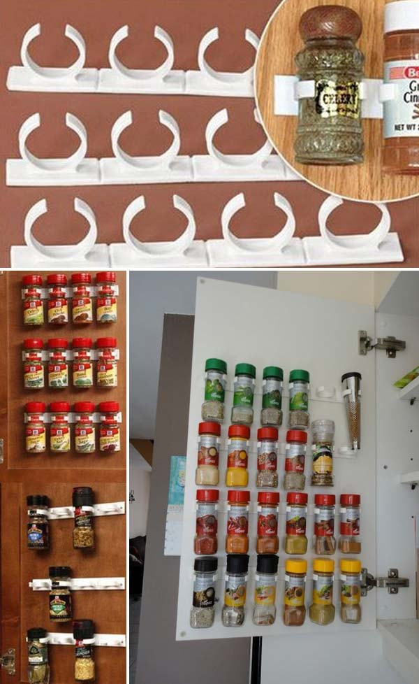 Mount spice racks on a cabinet door