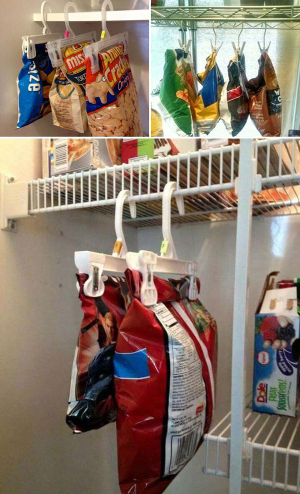 Hanging Chip Bags Use Clothes Hangers
