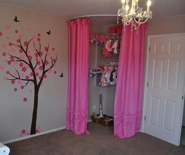 corner closet with Curtain