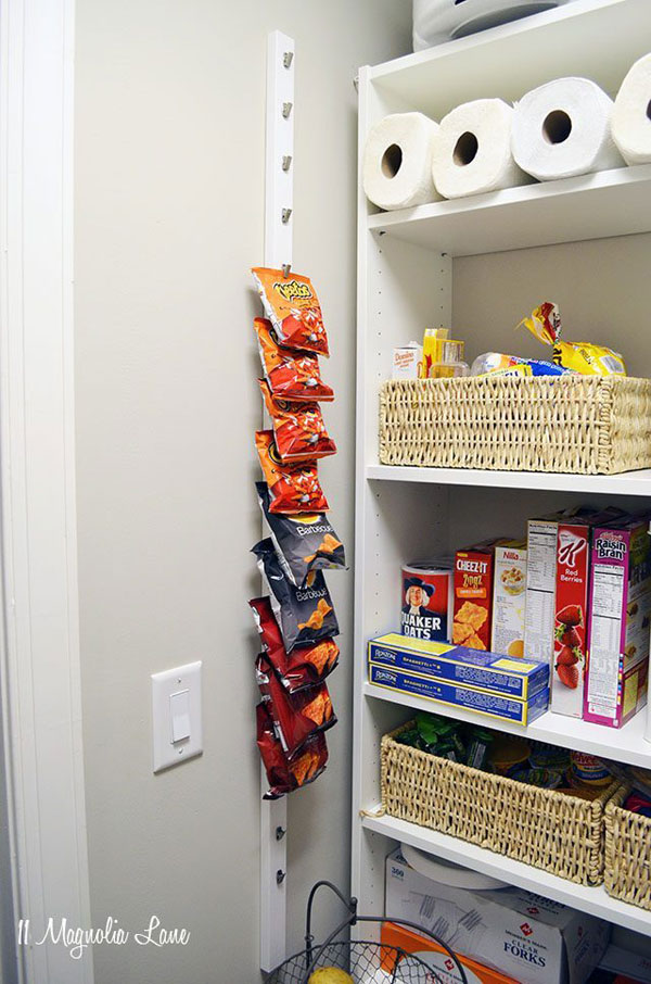 DIY Pantry chip rack made with curtain clips