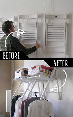 use stored ikea chairs as temporary closet