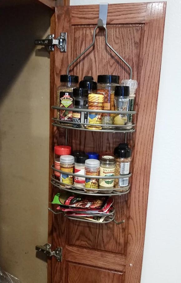 Reuse a shower caddy for pantry hanging storage