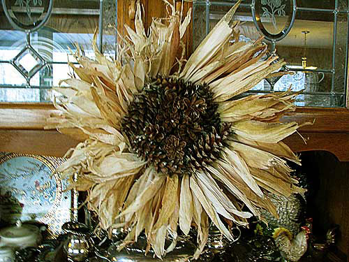Corn Husk Wreath with Pine Cones