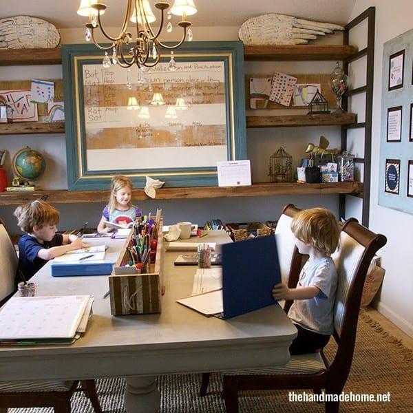 Kids Work Space and Big Wall Storage Shelf