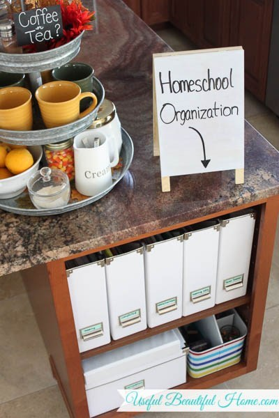 Use kitchen cubbies to store curriculum