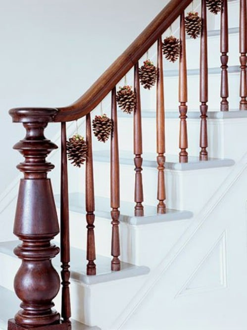 Decorate Handrails by Hanging these Lovely Pinecone Ribbon Decorations