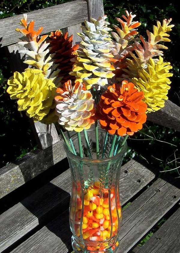 Candy Corn Pine Cone Flowers