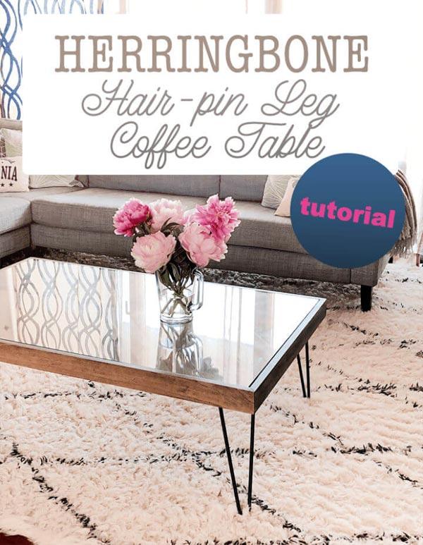 Herringbone Hairpin Leg Coffee Table