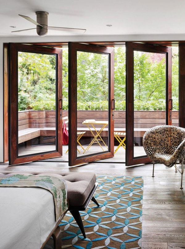 balcony Swivel Glass Doors With Wood Frames